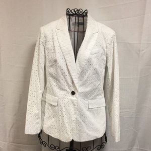 Boden White Broderie Eyelet Single Button Blazer
